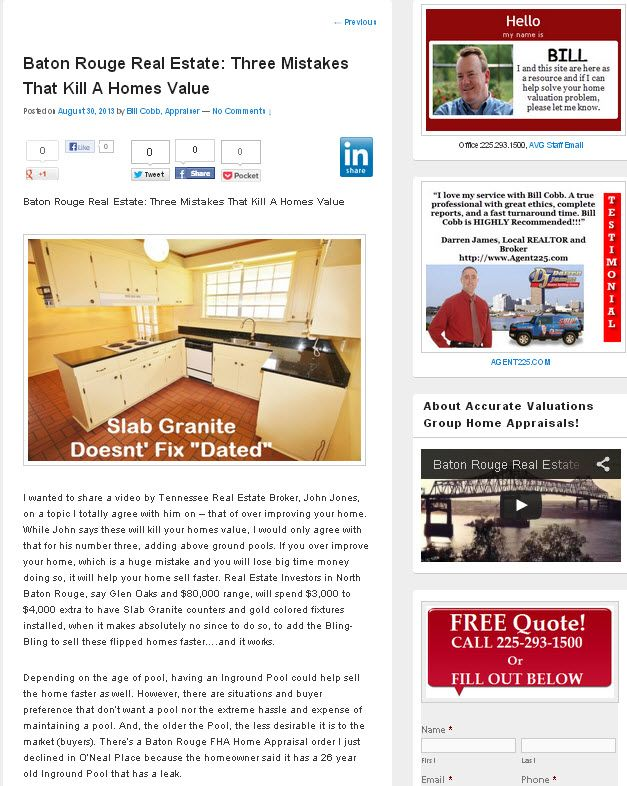 Baton Rouge Real Estate Three Mistakes That Kill A Homes Value Home Appraisal Real Estate Home Values