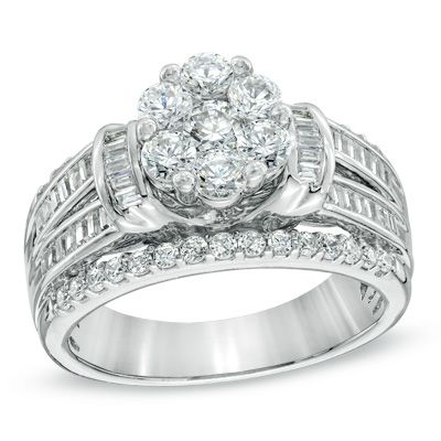 tw diamond cluster multi row engagement ring in - Zales Wedding Rings For Her