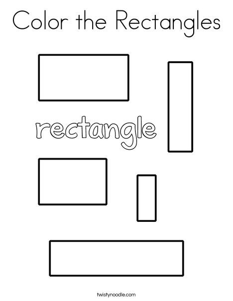 Color The Rectangles Coloring Page Twisty Noodle Shape