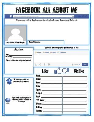 Facebook all about me back to school activity english learning facebook fandeluxe Choice Image