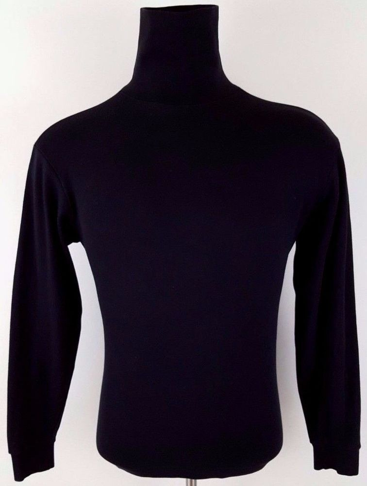 d21df453ad LANDS End MENS Turtleneck SHIRT Black COTTON Medium REGULAR Vintage USA  Size SZ…
