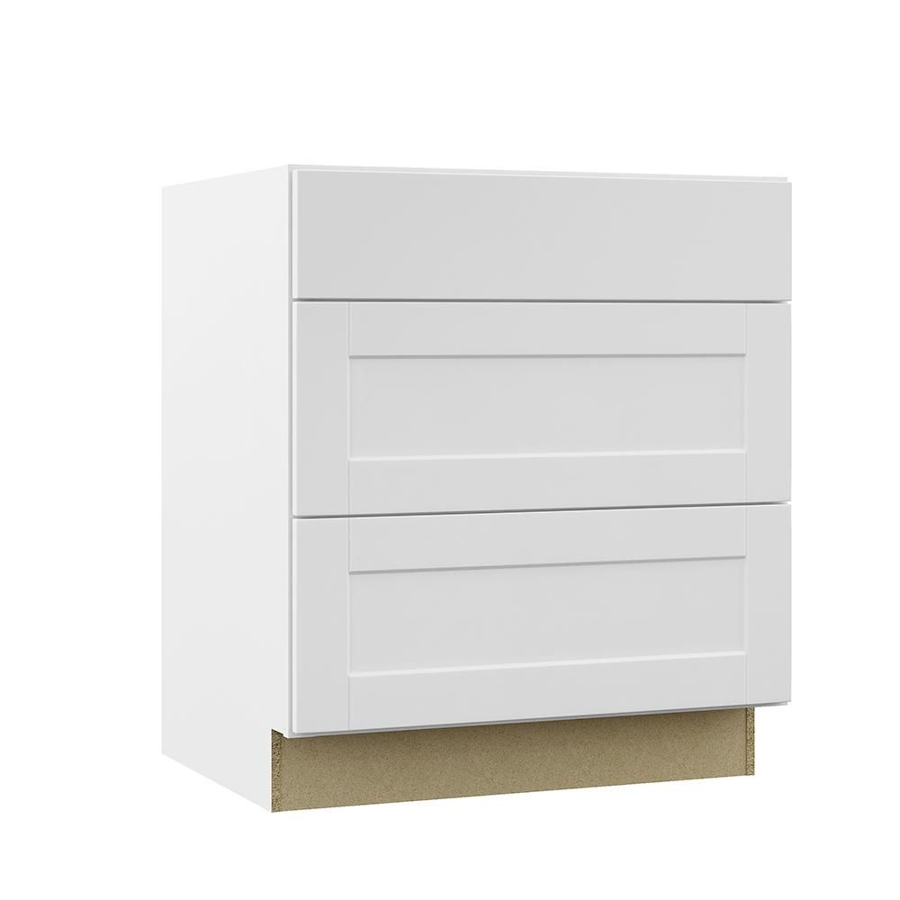 Hampton Bay Shaker Assembled 30x34 5x24 In Pots And Pans Drawer Base Kitchen Cabinet In Satin White Kdb30 Ssw Kitchen Cabinet Drawers New Kitchen Cabinets Base Cabinets