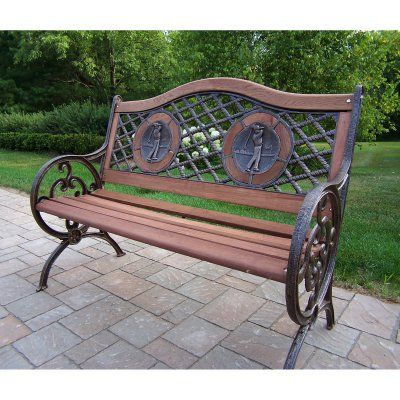 caca25b1b7724 Outdoor Oakland Living Double Golfer Cast Iron and Wood Curved Back Bench  in Antique Bronze Finish - 6066-AB