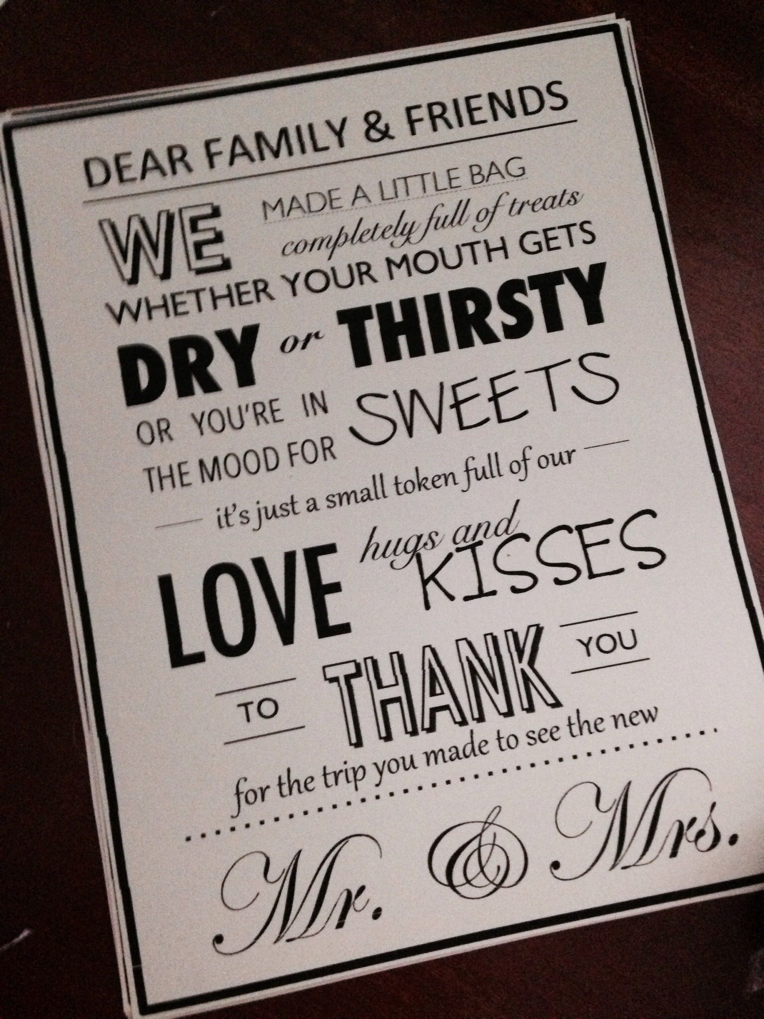 Nicole Created This Card To Attach The Welcome Bags For Out Of Town Guests Attending Wedding In Athens Georgia
