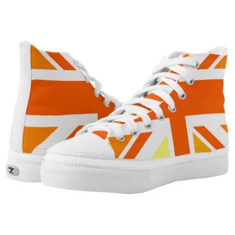 Union Jack UK United Kingdom In Orange High-Top Sneakers | Zazzle.com