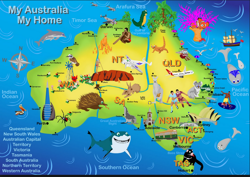 Map Of Australia With Icons Sydney Harbour Bridge