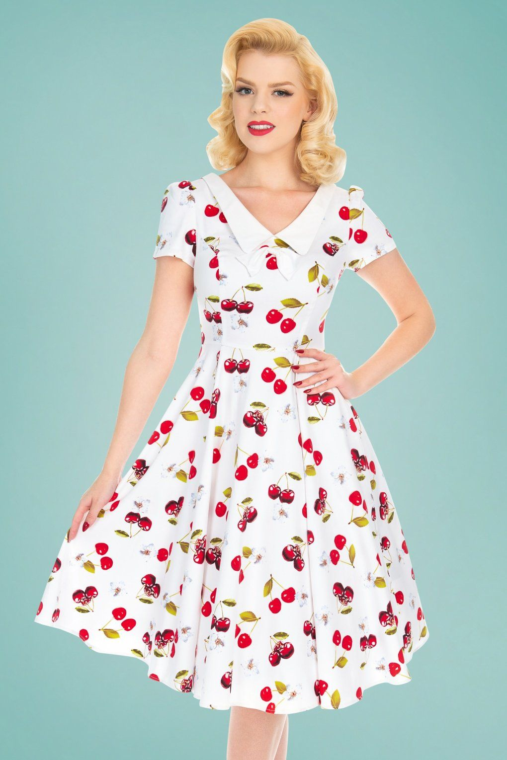 50s Cherry On Top Swing Dress In White Swing Dress Vintage Inspired Fashion Retro Vintage Dresses [ 1530 x 1020 Pixel ]