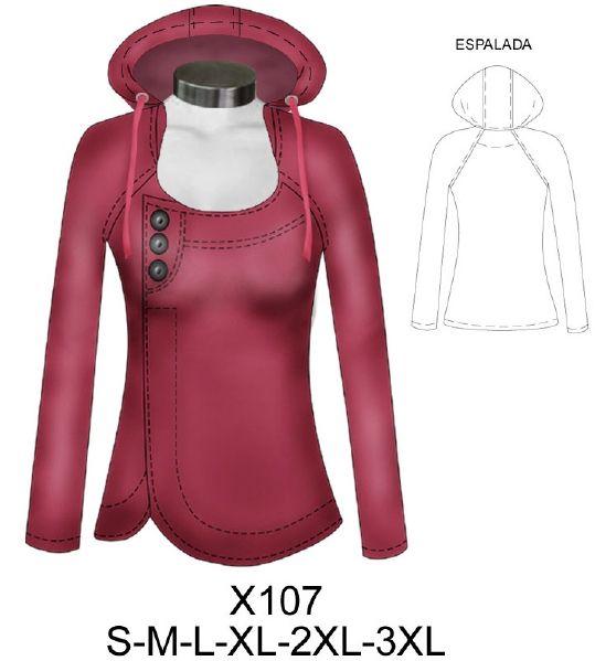 X107 Poleron cruzado con gorro . Consumo tela 1.40 metros talla L aprox.  tela  franela algodón delgado o polar sin cortar bebederos. e0d25a59c50c