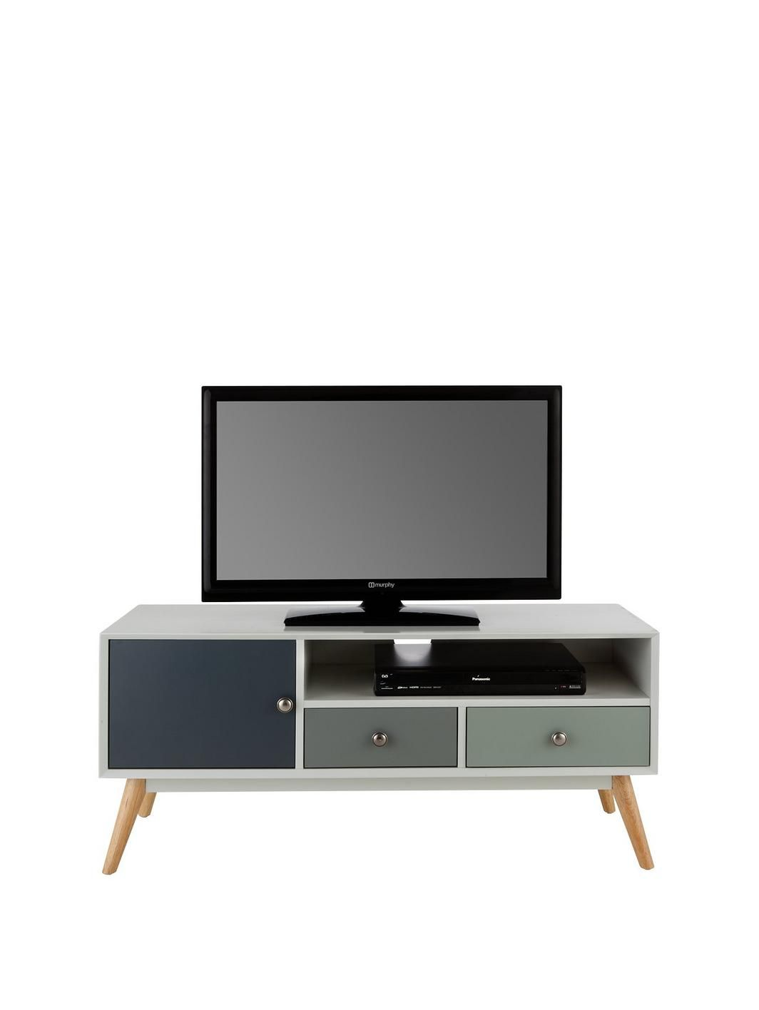 Orla Retro Tv Unit Fits Up To 50 Inch Tv Tv Unit 50 Inch Tvs  # Meuble Hifi Tv Roulette Ikea Ps