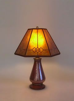 Copper Small Table Lamp Amber Windowpane Mica Mission Shade