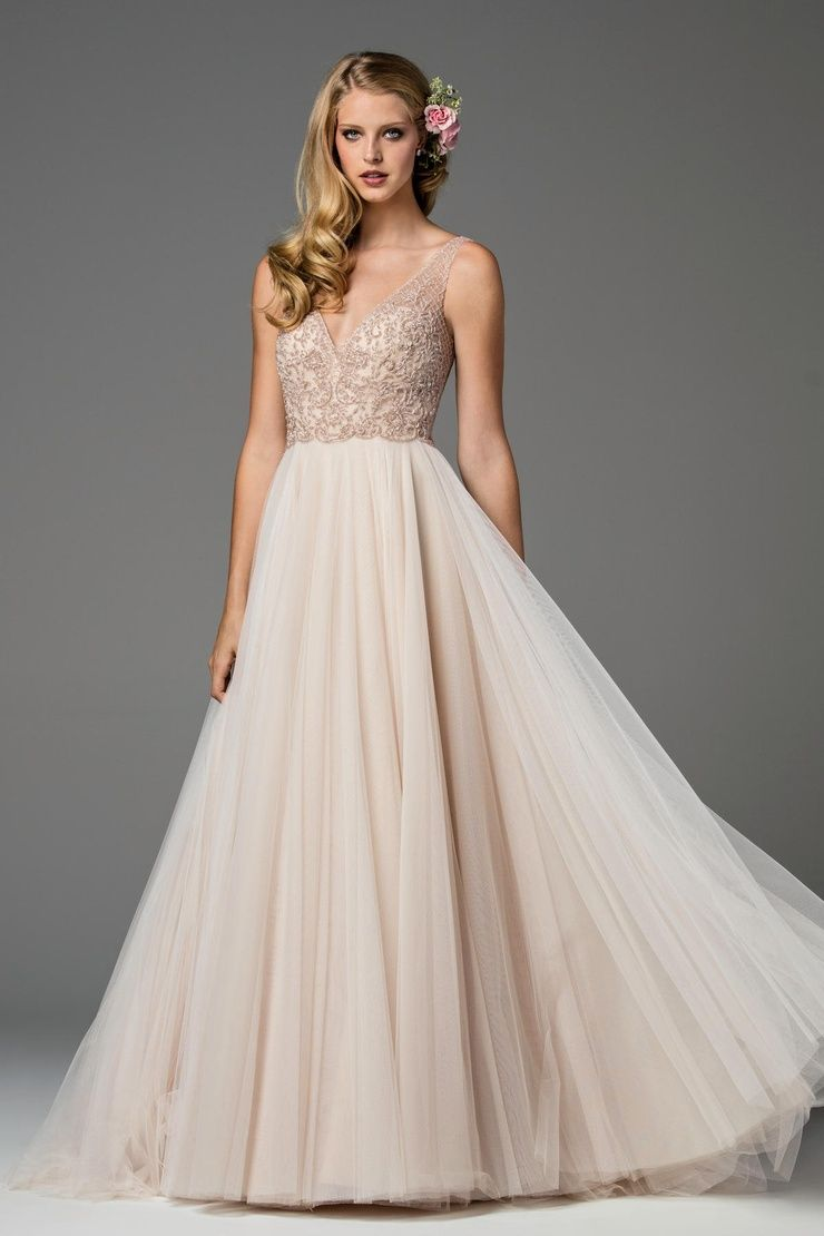 Hayley paige fall 2017 shimmering ethereal wedding dresses watters spring 2017 wedding gown ora in nouveau rose blush wedding dress ombrellifo Images