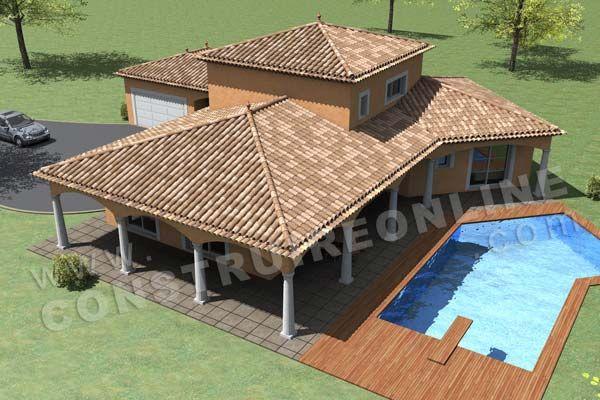 Plan de maison etage traditionnelle MAURESQUE vue dessus Maison