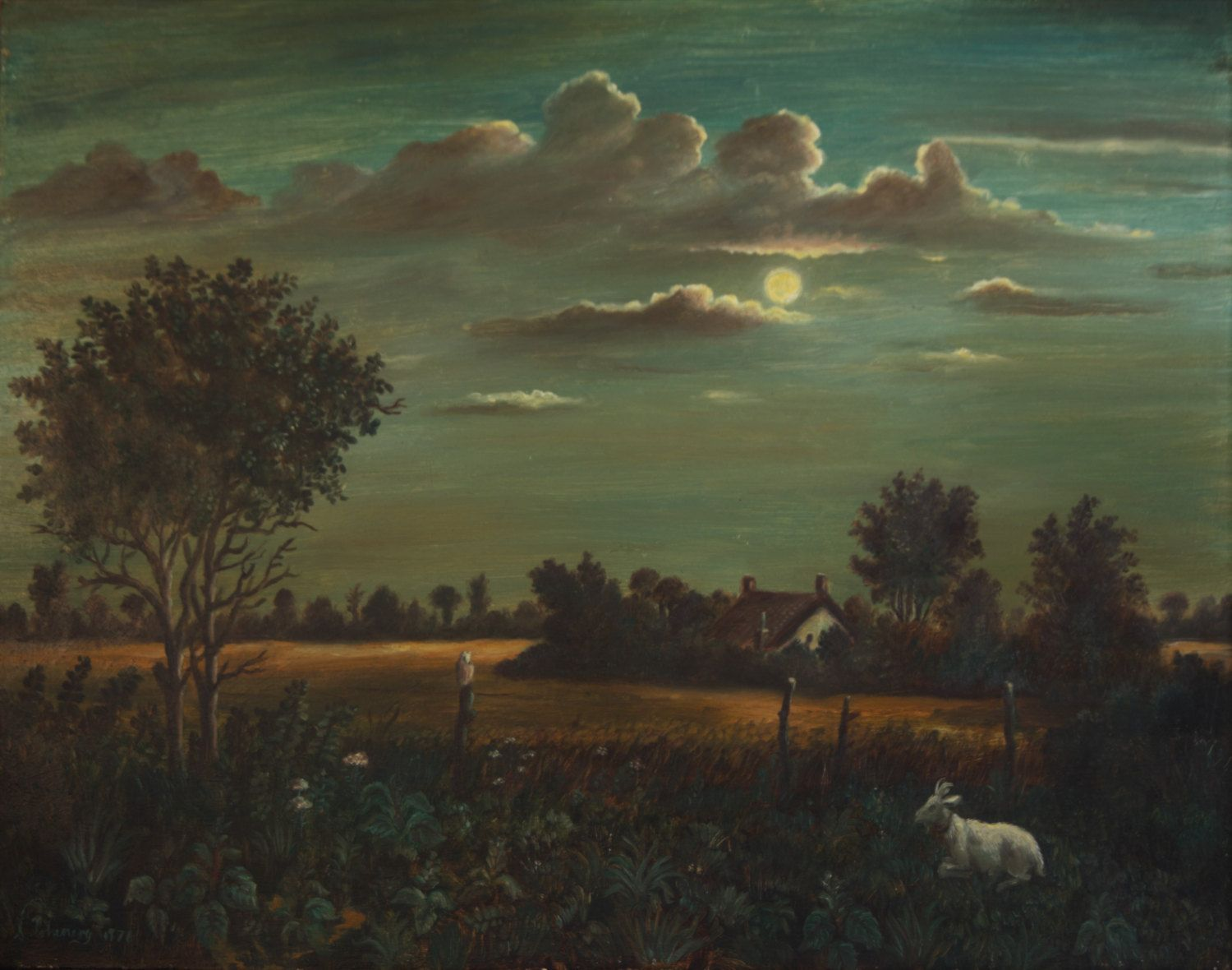 Moonlit English Landscape With Goat And Owl Original Oil Painting Signed By The Artist S Chenery Vintage Landscape Landscape Paintings Original Oil Painting