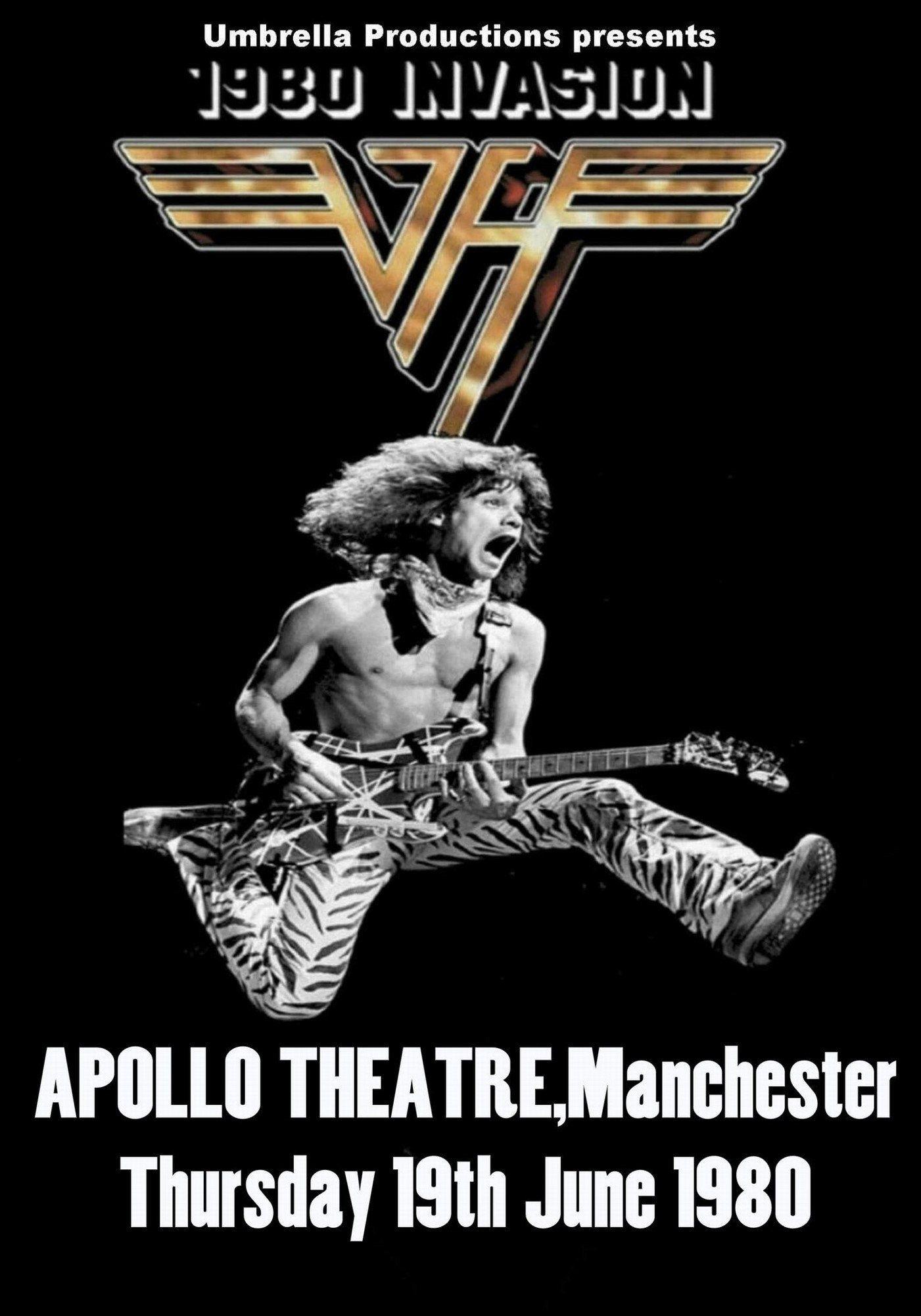 Van Halen Vintage Poster Apollo Theatre Manchester Uk 1980 Van Halen Concert Concert Posters Van Halen