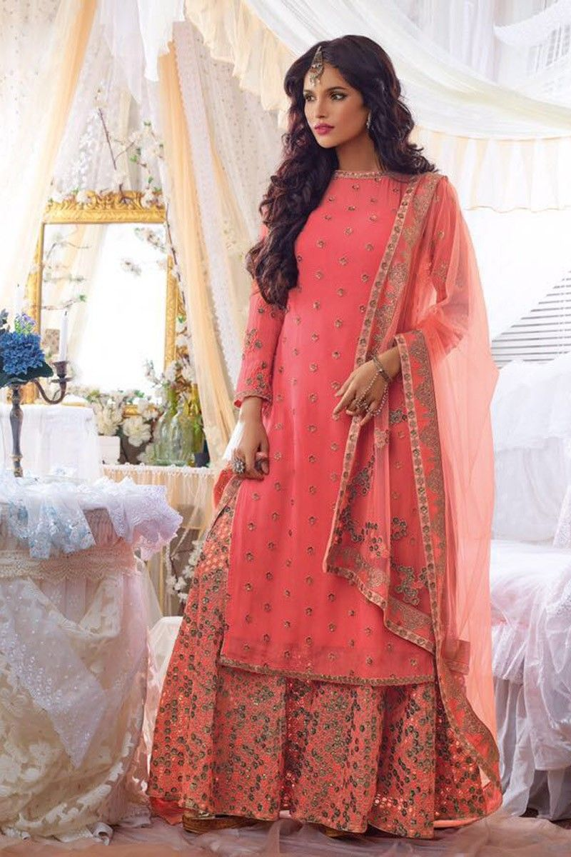 2d16a49269b straight suits online PEACH DESIGNER PUNJABI WEDDING WEAR DRESS WITH  EMBROIDERED SHARARA