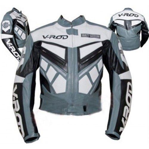 Gray Color Harley Davidson V Rod Motorcycle Bike Leather Jacket Bike Leathers Jackets Harley Davidson V Rod