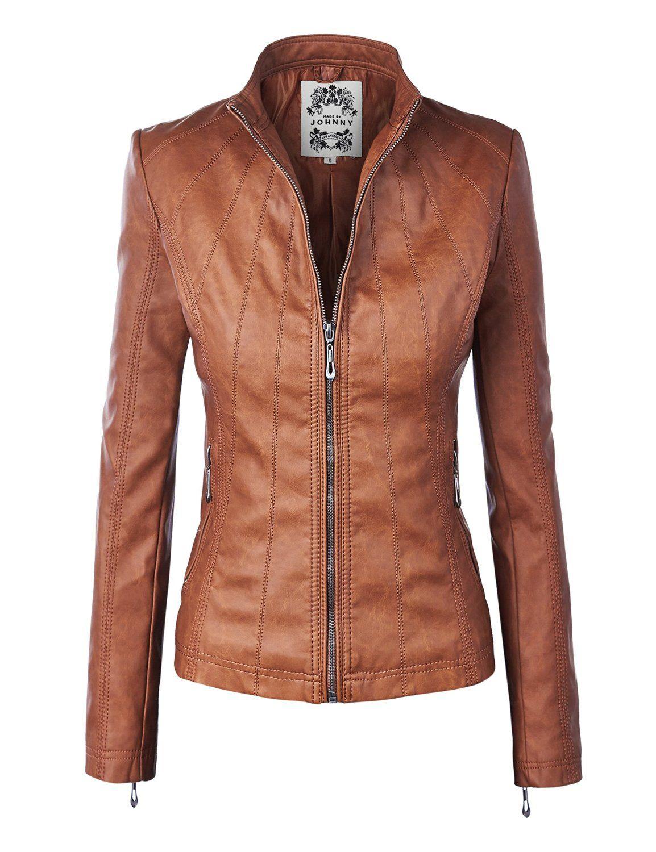 MBJ Womens Panelled Faux Leather Moto Jacket at Amazon