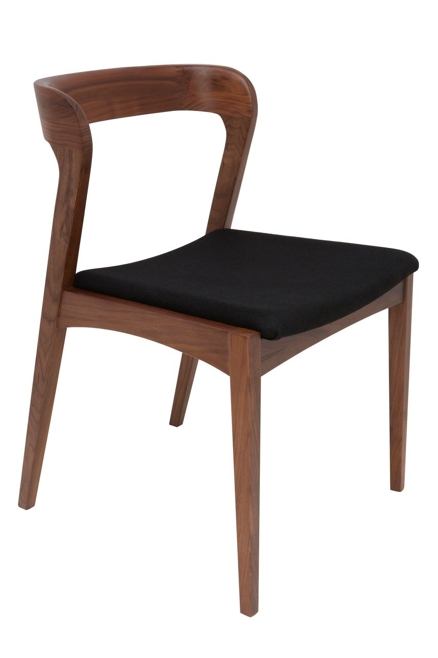 Set Of 2 Bjorn Black Fabric Walnut Dining Chairs Nuevo  # Meuble Tv Bjorn