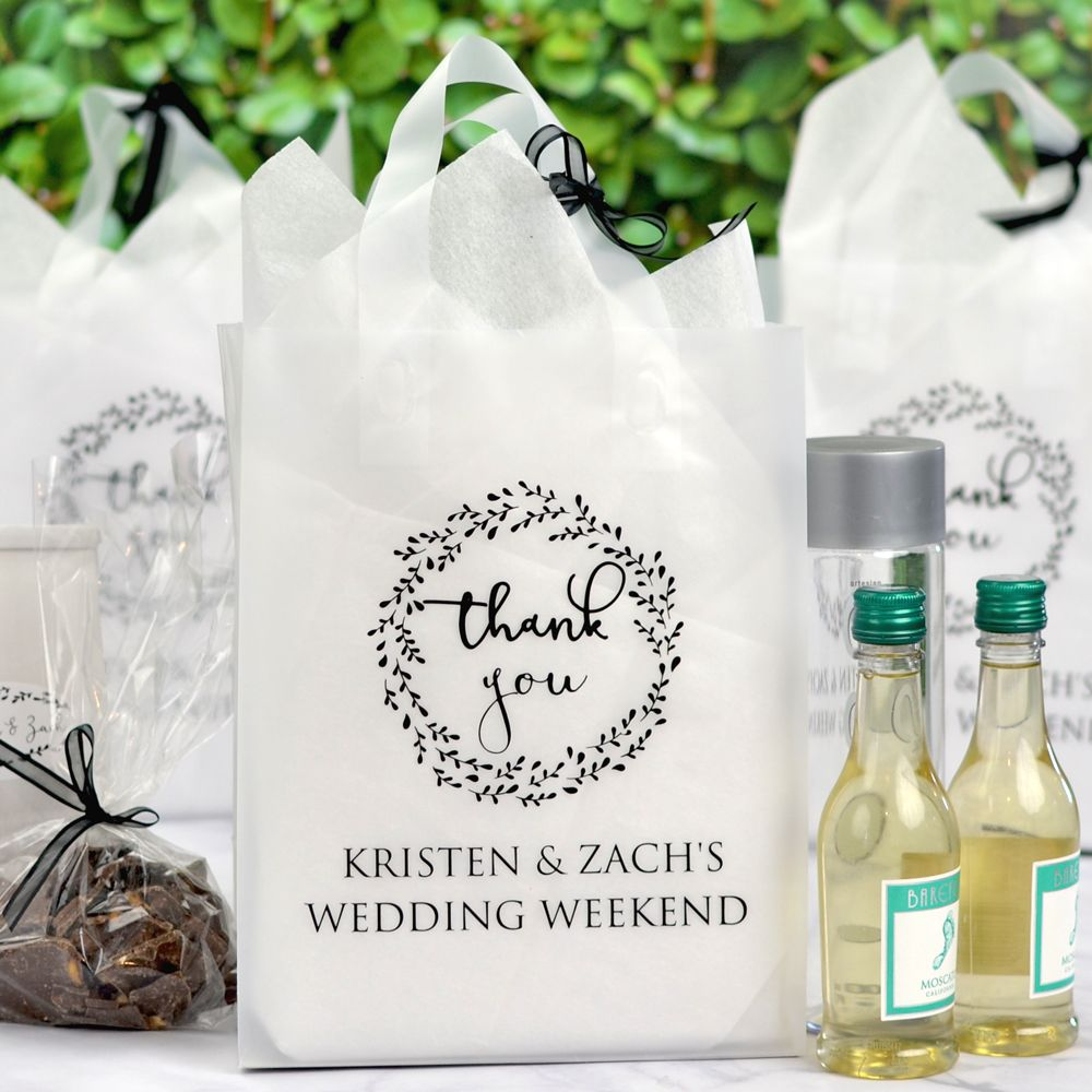 8 x 10 Custom Printed Frosted Plastic Gift Bags (Set of 25 ...