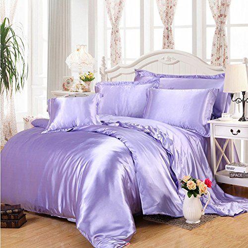 Ukeler Lilac Luxury Silky Bedding Set For Girls Solid Duv Https Www Amazon Com Dp B072fnb4hf Ref Cm Sw R Satin Bedding Silk Bed Sheets Duvet Bedding Sets