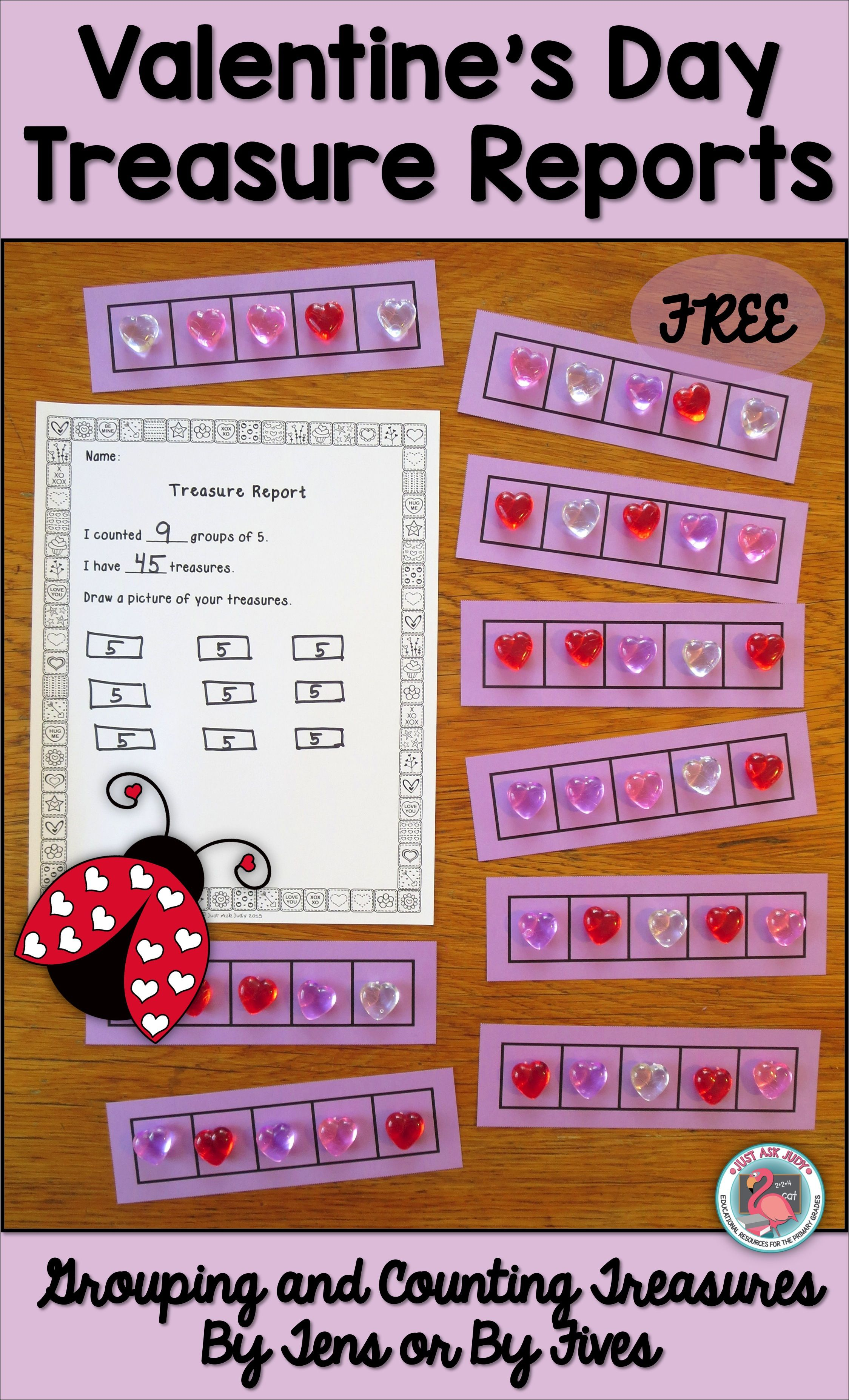 Valentine S Day Free Counting And Grouping By 10 S Or 5 S
