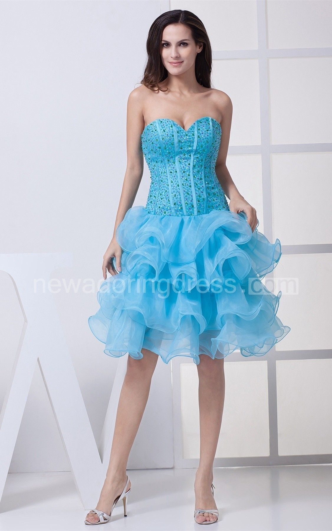 Sweetheart ruffled midi dress with gemmed bodice homecoming