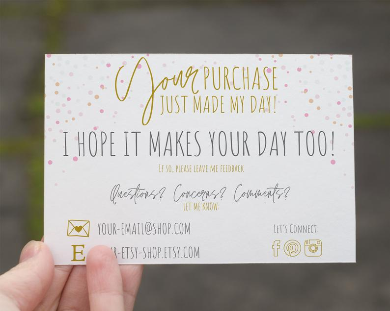 Purchase Thank You Card Editable Canva Template Insert For Etsy Free Printable Business Cards Make Business Cards Thank You Cards