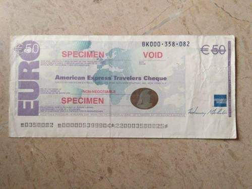 50 Euro American Express Bank Travellers Cheque Specimen