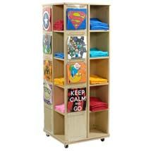 A fun and eye-catching way to show off graphic t-shirts and keep your store neat and organized! Rotates for easy browsing | Specialty Store Services. See this and hundreds of other great retail store supply products at specialtystoreservices.com