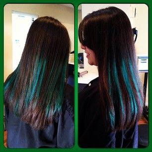 Dark Brown Hair With Emerald Green Streaks Highlights Tijeras Hair Co Albuquerque Nm Www Tijerashairsalon Com Hair Green Hair Cool Hairstyles