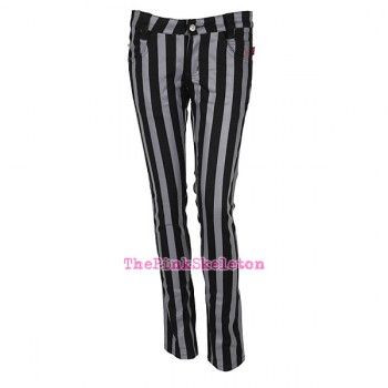 Tripp NYC - Goth Punk Black & Grey Striped Darkness Jeans (worn by Helena on Orphan Black)