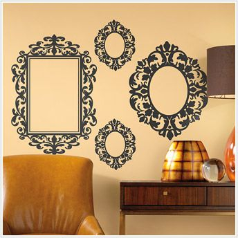 Oversized Black Frame Wall Stickers Great Alternative To Hanging - Can you put a wall decal on canvas
