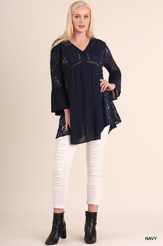 Bell Sleeve Lace Detail Tunic - Navy ~ $34.00 at knittedbelle.com
