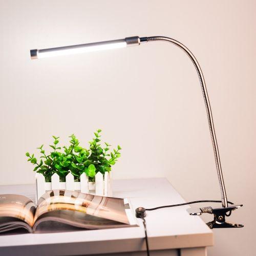 10w Eye Protection Led Clamp Clip Light Table Desk Reading Lamp 10 Level Brightness Adjustable 3 Lighting Colors Usb Powered Flex Reading Lamp Lamp Clip Lights