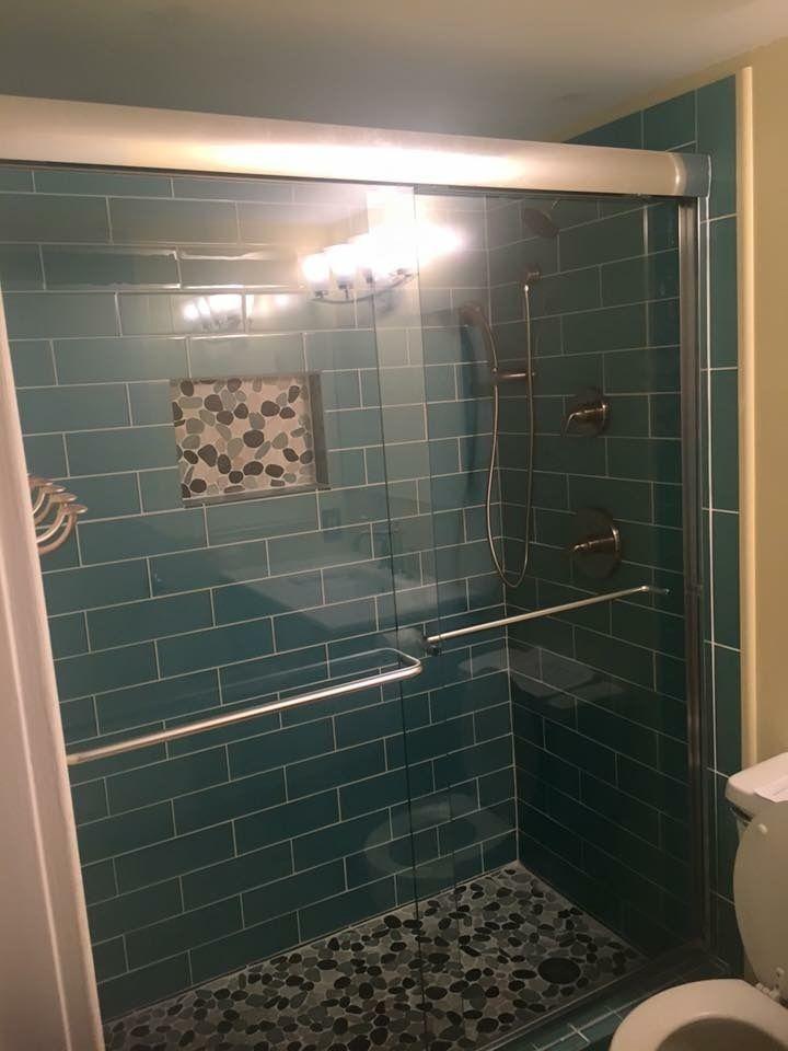 Aqua Glass 4 Quot X 12 Quot Subway Tile Pebble Tile Shower Floor