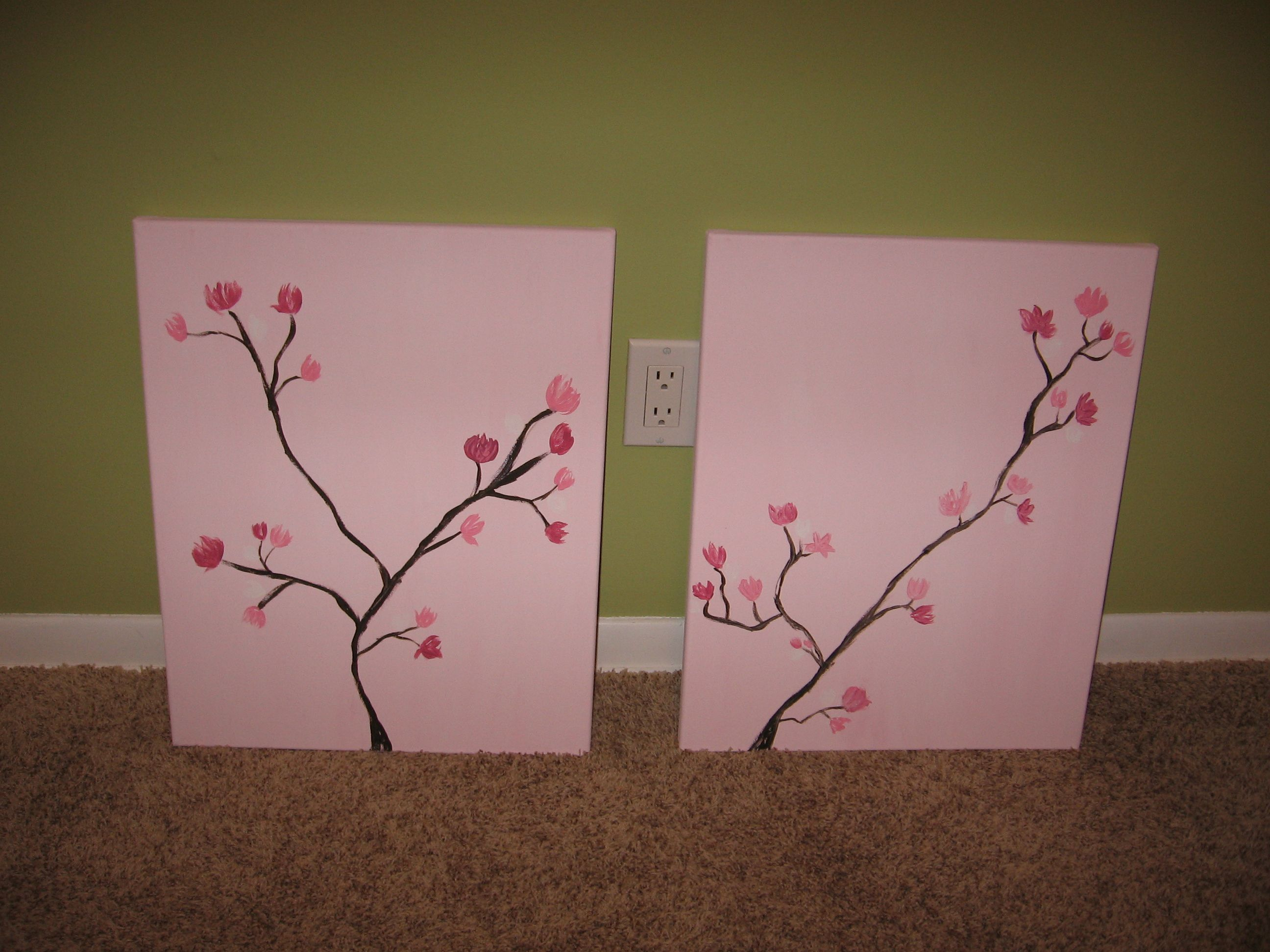 easy diy cherry blossom paintings for nursery craft