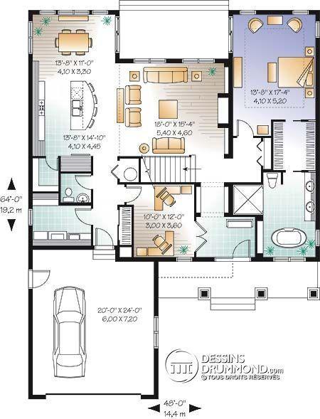 Détail du plan de Maison unifamiliale W3616-V1 Constructeur - plan de maison design