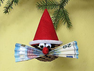 Geldgeschenk für Weihnachten - Zapfenwichtel ...