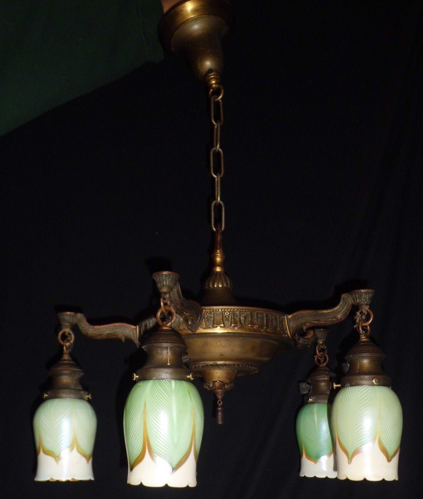 5 light cast brass art nouveau fixture chandelier pulled feather 5 light cast brass art nouveau fixture chandelier pulled feather quezal shades arubaitofo Choice Image