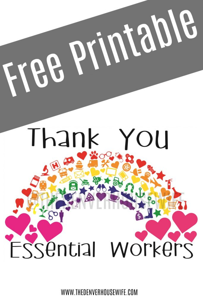 Thank You Essential Workers Rainbow Free Printable Thank You Poster Print Thank You Cards Teacher Appreciation Quotes