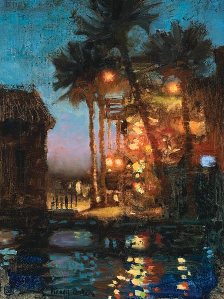 Nancy Boren, Glittery Night in Charleston, oil, 16 x 12 in