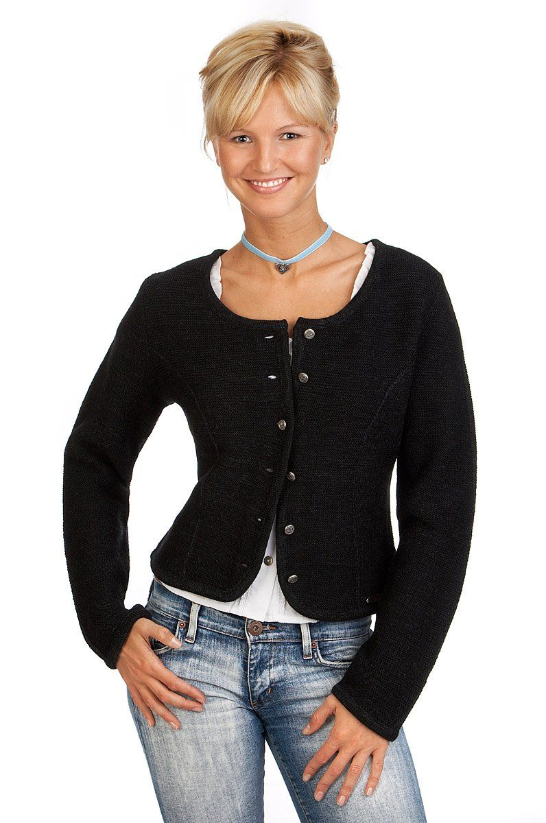 Spieth & Wensky Damen Trachten Strickjacke - BOZEN - schwarz Größe S