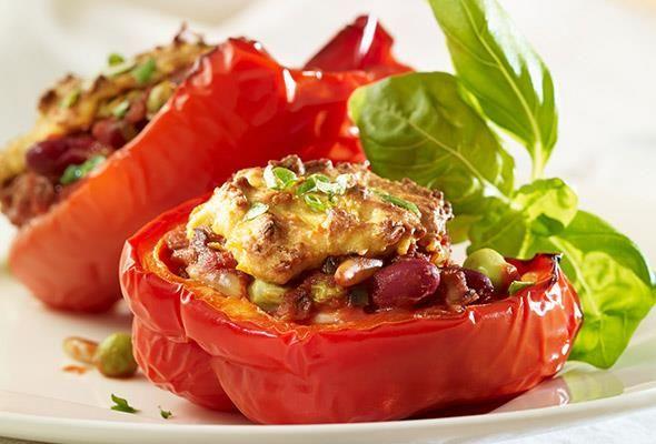 Rezept: Gefüllte Paprika mit Kidneybohnen bei Victoria