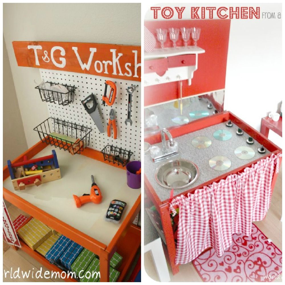 Ikea changing tables made into a play workshop and kitchen; do with drew's changing table when done...really like the workshop for his room