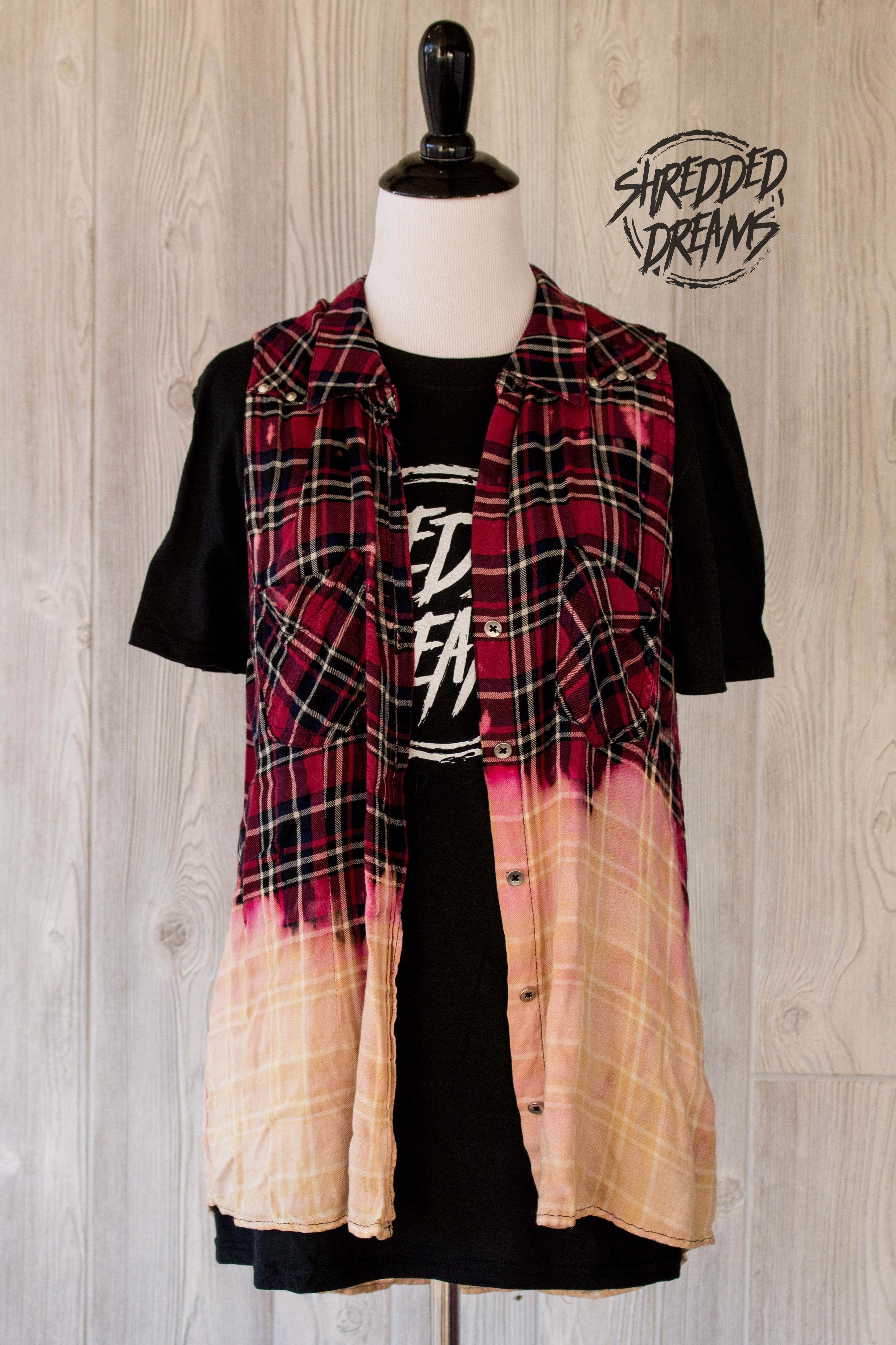 Grunge flannel outfits  Custom bleached and distressed grunge flannel shirts from Shredded