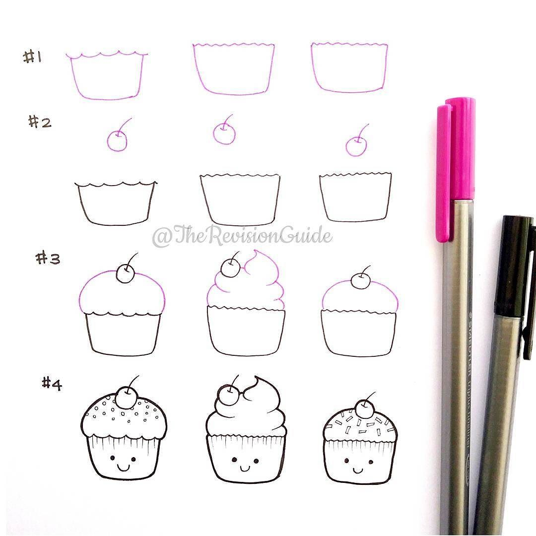 Cupcakes draw step by step drawing Pinterest Cupcake drawing