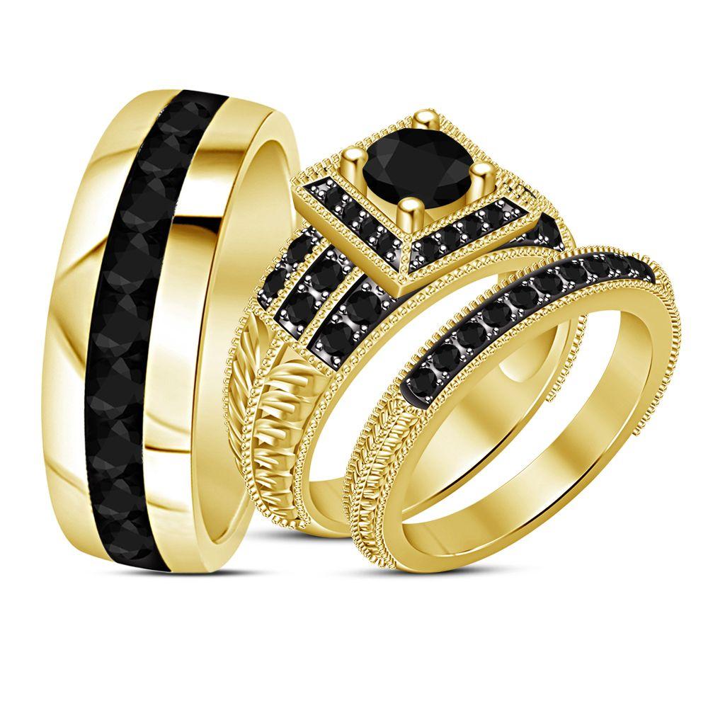 2.25Ct Diamond Engagement Ring Wedding Band Trio Set 18k