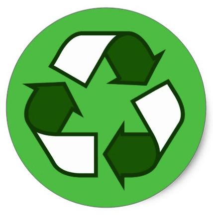 Dark Green And White Recycling Symbol On Green Classic Round Sticker