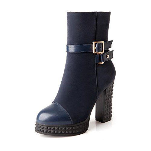 Women's Blend Materials Low-top Solid Zipper High-Heels Boots