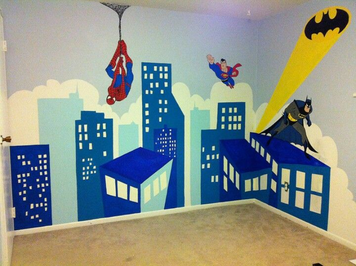 Super heroes wall izzie and carter 39 s room pinterest for Dormitorio super heroes